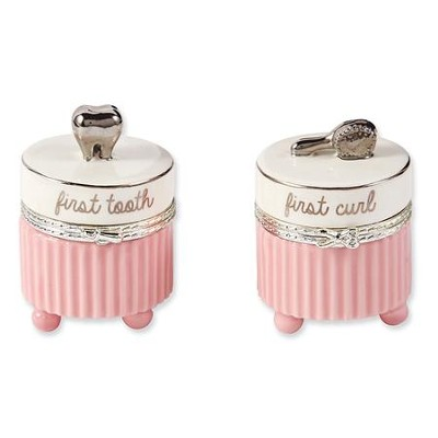 First Tooth and First Curl, Keepsake Boxes, Pink  -