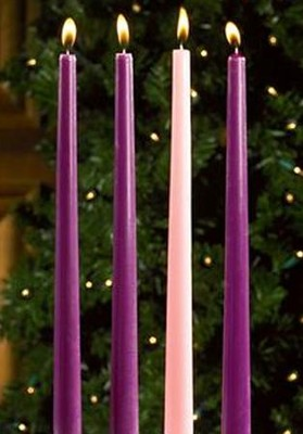 Advent Candles, 7/8 x 12, 3 Purple, 1 Pink      -