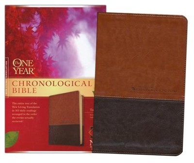 The NLT One Year Chronological Bible, TuTone Brown/Tan Leatherlike - Slightly Imperfect  -