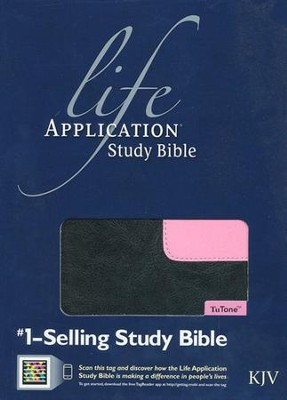 KJV Life Application Study Bible, TuTone Black/Patent Leather Pink Leatherlike  -     By: Tyndale