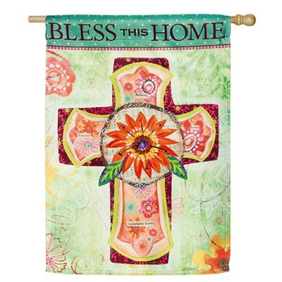 Bless This Home Flag, Large  -     By: Lori Seibert