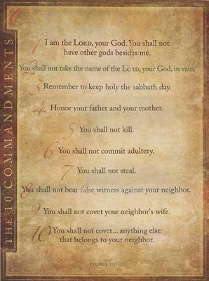 Catholic: 10 Commandments - Laminated  -