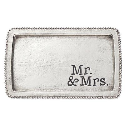 Mr. & Mrs., Beaded Tray  -