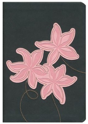 NLT Large Print Compact Edition, TuTone Leatherlike Grey/Pink Flowers  -