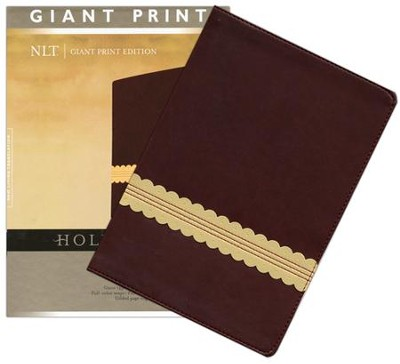 NLT Holy Bible, Giant Print TuTone Leatherlike Wine/Gold  -