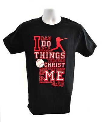 I Can Do All Things Shirt, Baseball, Black, Large  -