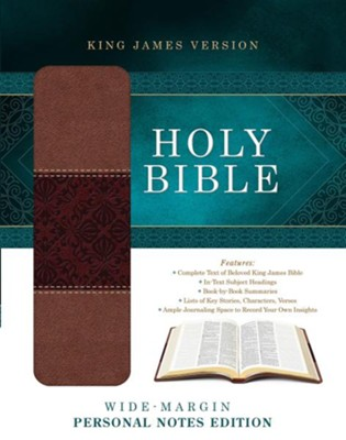 KJV Wide-Margin Personal Notes Bible, Imitation Leather, Tan/Brown   -