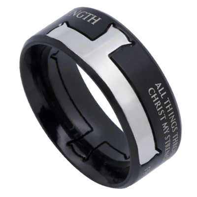 His Strength Iron Cross Men's Ring Black, Size 8 (Philippians 4:13)  -