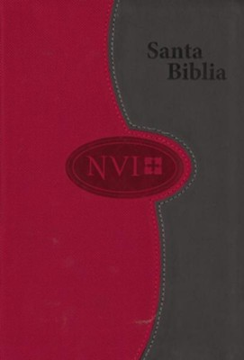 NVI Larger Print Bible - DuoTone Grey/Brick - Spanish  -     By: Biblica