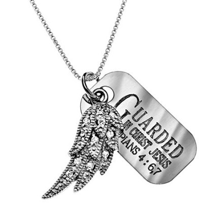 Guarded PPS Wing with Cubic Zirconium, 18 Chain (Philippians 4:6-7)  -