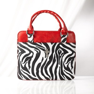 Zebra Print Bible Cover, Red, Medium  -