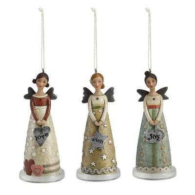Joy, Love and Wish Angel Ornaments, Set of 3  -     By: Kelly Rae Roberts