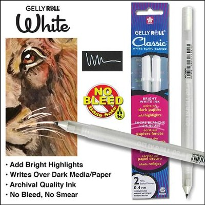 White Pen Gelly Roll Classic 08 Medium-2 Pk  -