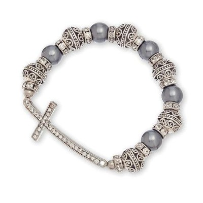 Pearl And Stone Sideways Cross Bracelet, Gray  -
