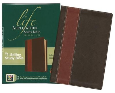 NLT Life Application Study Bible, Personal Size Leatherlike brown & tan  -