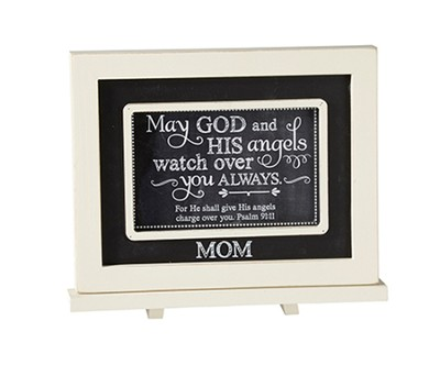Mom, May God and His Angels Watch Over You, Chalkboard Plaque  -