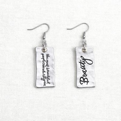 Beauty, Message Earrings, Silver  -     By: Lori Siebert