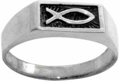 Ichthus Stainless Steel Ring, Size 10  -
