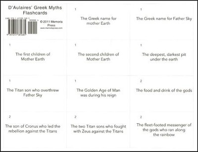 D'Aulaires Greek Myths Flashcards  -