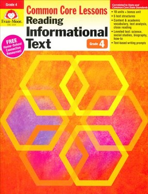 Reading Informational Text: Lessons for Common Core Mastery, Grade 4  -