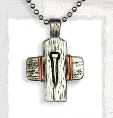 Cross with Nail and Copper Wire Pendant, on Beaded Chain  -