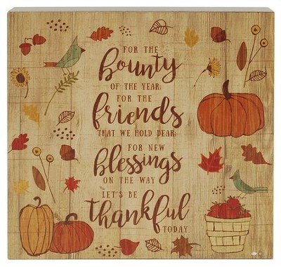 Bounty, Friends, Blessings, Thankful, Wall Box Sign  -     By: Amylee Weeks