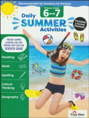 Daily Summer Activities, Moving From Grades 6 to 7 (2018 Revision)  -