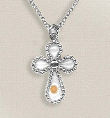 Mustard Seed Cross Necklace, Silver  -