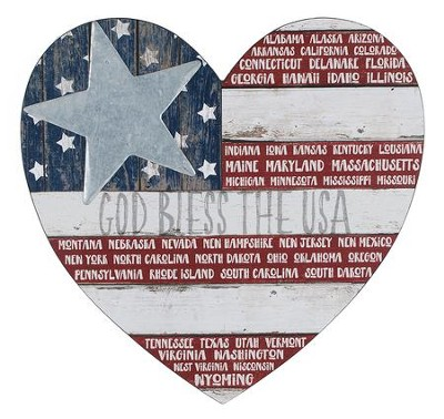 God Bless the USA Heart Plaque  -     By: Barbara Lloyd