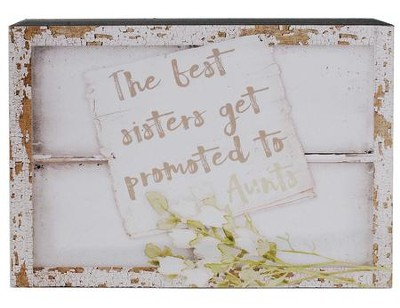 The Best Sisters Get Promoted to Aunt Window Box Sign  -     By: Barbara Lloyd