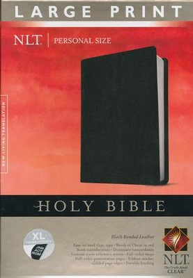 NLT Personal Size Large Print Bible, Black Bonded Leather Indexed  -