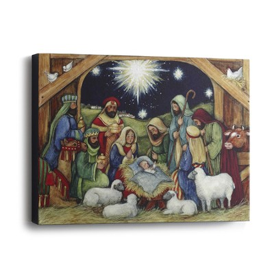 Nativity Scene Canvas Wall Art  -