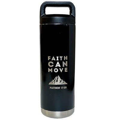 Faith Can Move Stainless Steel Water Bottle, Black  -