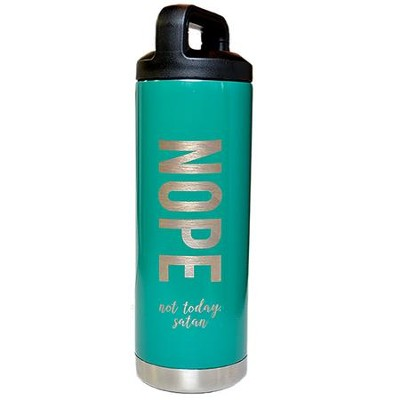 Nope Not Today Satan Stainless Steel Water Bottle, Green  -