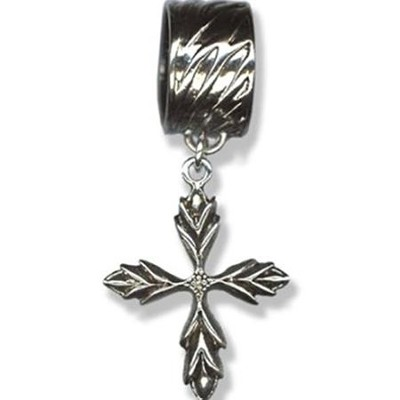 Antique Silver Scarf Slide, with Feathered Cross  -