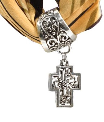 Antique Silver Scarf Slide, with Filigree Jesus Cross  -