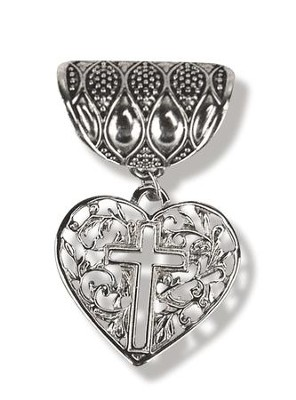 Antique Silver Scarf Slide, with Heart and Open Cross  -