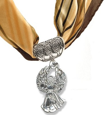 Antique Silver Scarf Slide, with Angel  -