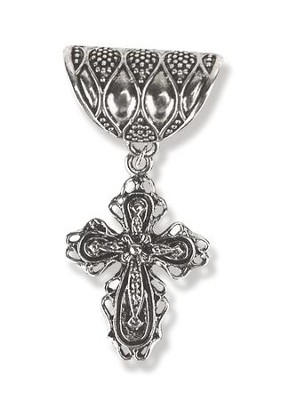 Antique Silver Scarf Slide, with Filigree Cross  -