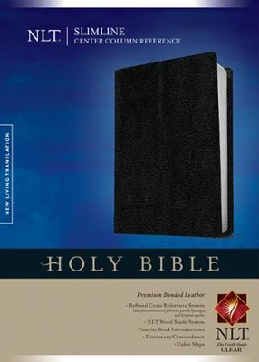 NLT Slimline Center Column Reference Bible, Premium Black Bonded Leather  -