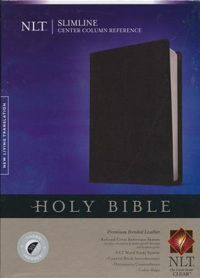 NLT Slimline Center Column Reference Bible, Black Indexed Bonded Leather  -
