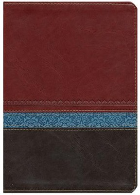 KJV Life Application Study Bible Large Print Imitation Leather, brown/tan/heather blue Indexed  -