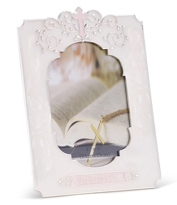 Pink God Bless Baby Photo Frame  -