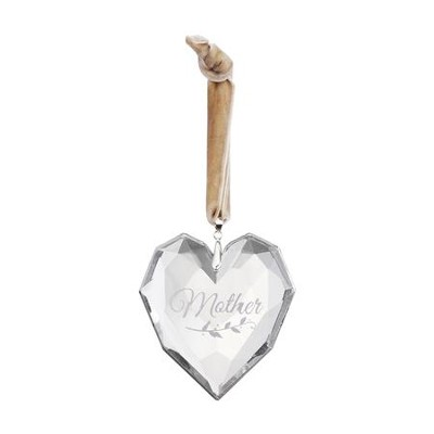 Mother, Glass Heart Ornament  -