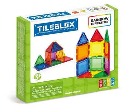 Magformers Rainbow Tiles, 14 Piece Set  -