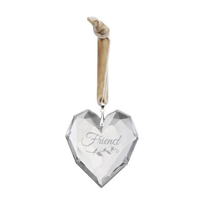 Friend, Glass Heart Ornament  -