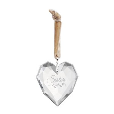 Sister, Glass Heart Ornament  -
