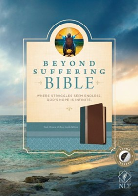 NLT Beyond Suffering Bible, TuTone Teal/Brown/Rose Gold Indexed Leatherlike  -     By: Joni and Friends Inc.