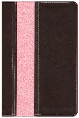 NLT Study Bible TuTone Imitation Leather, dark brown/pink Indexed  -