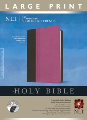 NLT Premium Slimline Reference Bible, Large Print, soft imitation leather, pink/brown wih thumb index - Imperfectly Imprinted Bibles  -